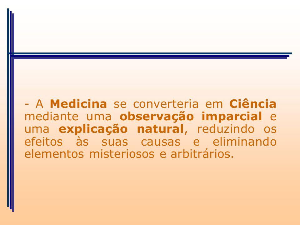 - A Medicina se converteria em Ciência mediante uma observação imparcial e uma explicação natural, reduzindo os efeitos às suas causas e eliminando elementos misteriosos e arbitrários.