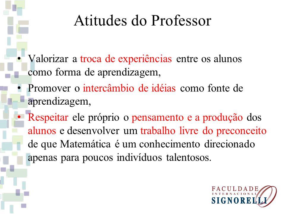 Atitudes do Professor Valorizar a troca de experiências entre os alunos como forma de aprendizagem,