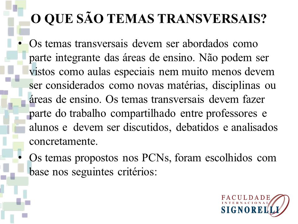 O QUE SÃO TEMAS TRANSVERSAIS