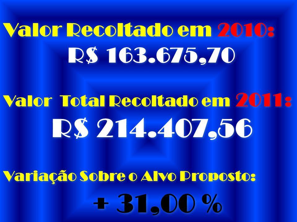 + 31,00 % Valor Recoltado em 2010: R$ 163.675,70
