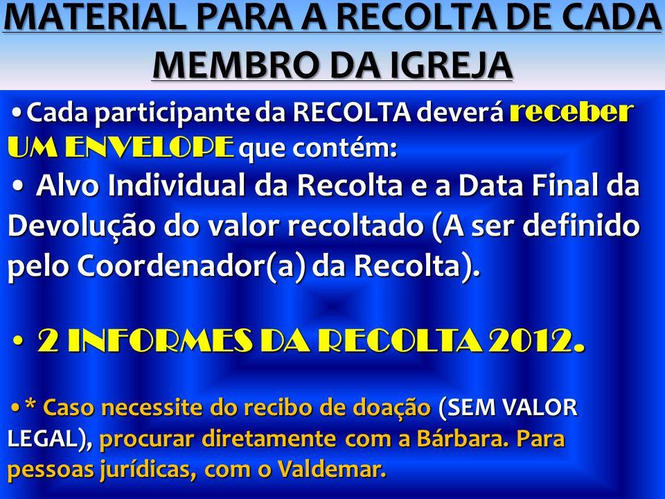 MATERIAL PARA A RECOLTA DE CADA MEMBRO DA IGREJA