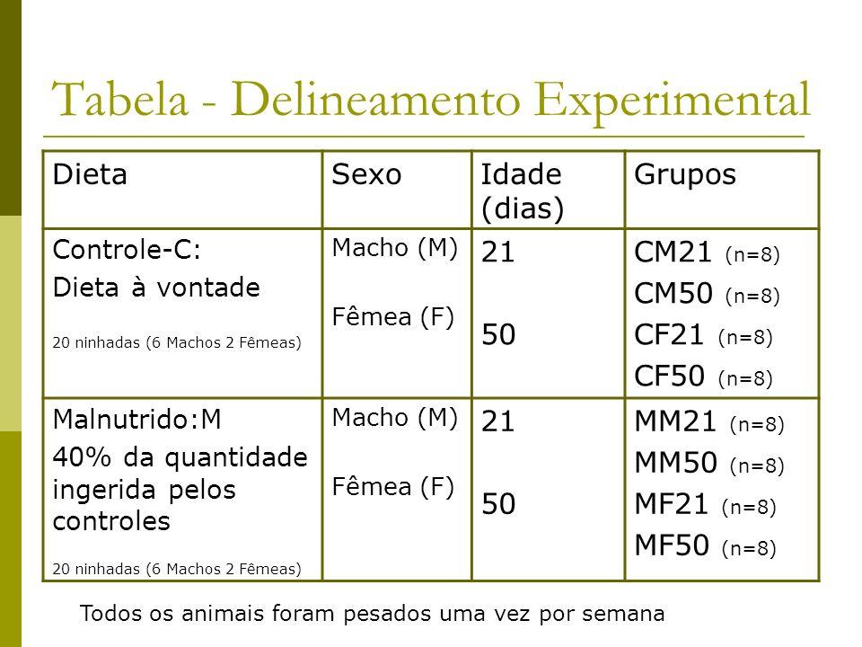 Tabela - Delineamento Experimental