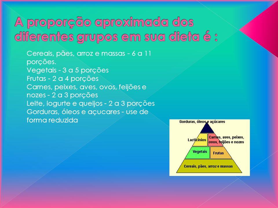 A proporção aproximada dos diferentes grupos em sua dieta é :