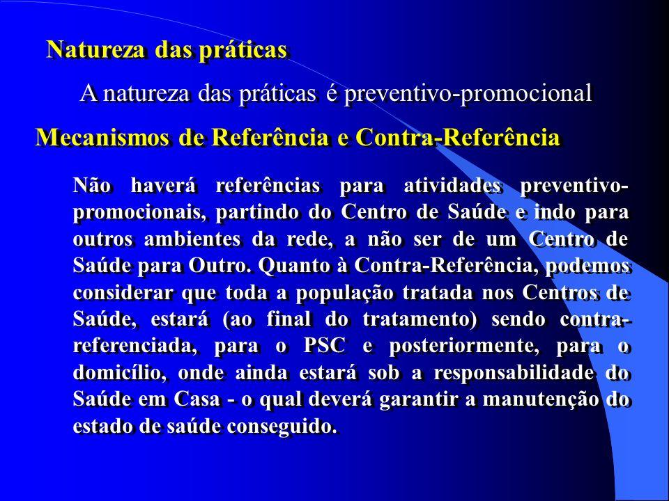 A natureza das práticas é preventivo-promocional