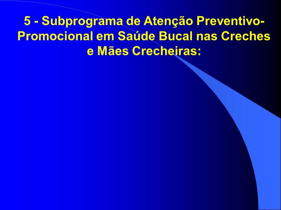 5 - Subprograma de Atenção Preventivo-Promocional em Saúde Bucal nas Creches e Mães Crecheiras: