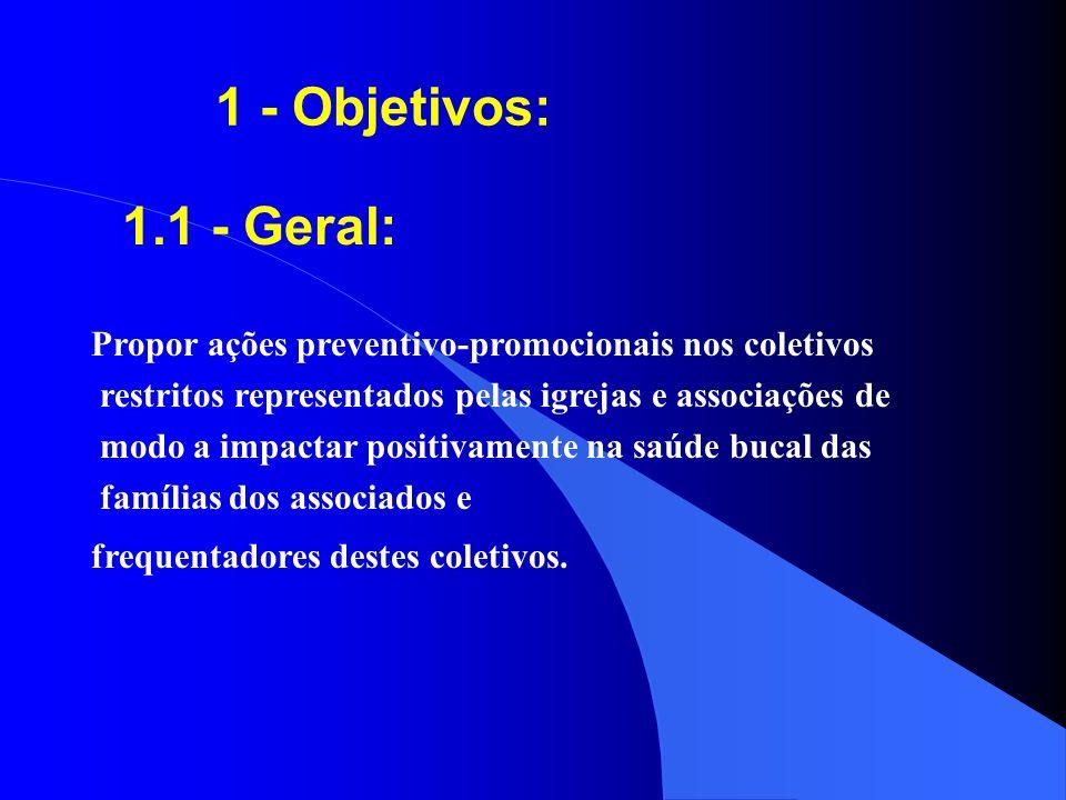 1 - Objetivos: 1.1 - Geral: Propor ações preventivo-promocionais nos coletivos. restritos representados pelas igrejas e associações de.