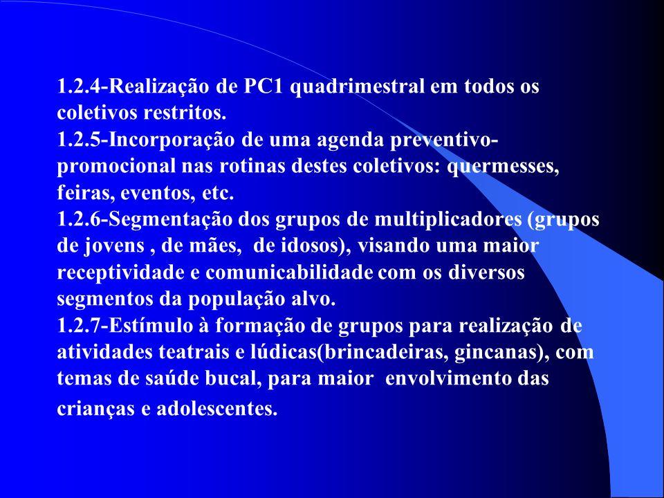 1.2.4-Realização de PC1 quadrimestral em todos os coletivos restritos.