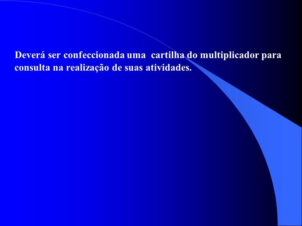 Deverá ser confeccionada uma cartilha do multiplicador para consulta na realização de suas atividades.