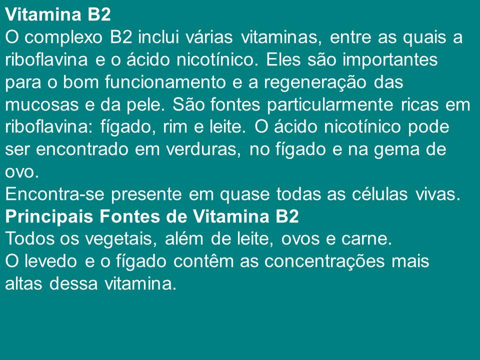 Vitamina B2 O complexo B2 inclui várias vitaminas, entre as quais a. riboflavina e o ácido nicotínico. Eles são importantes.