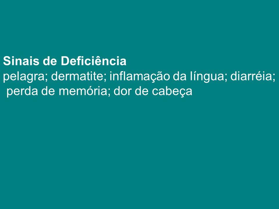Sinais de Deficiência pelagra; dermatite; inflamação da língua; diarréia;