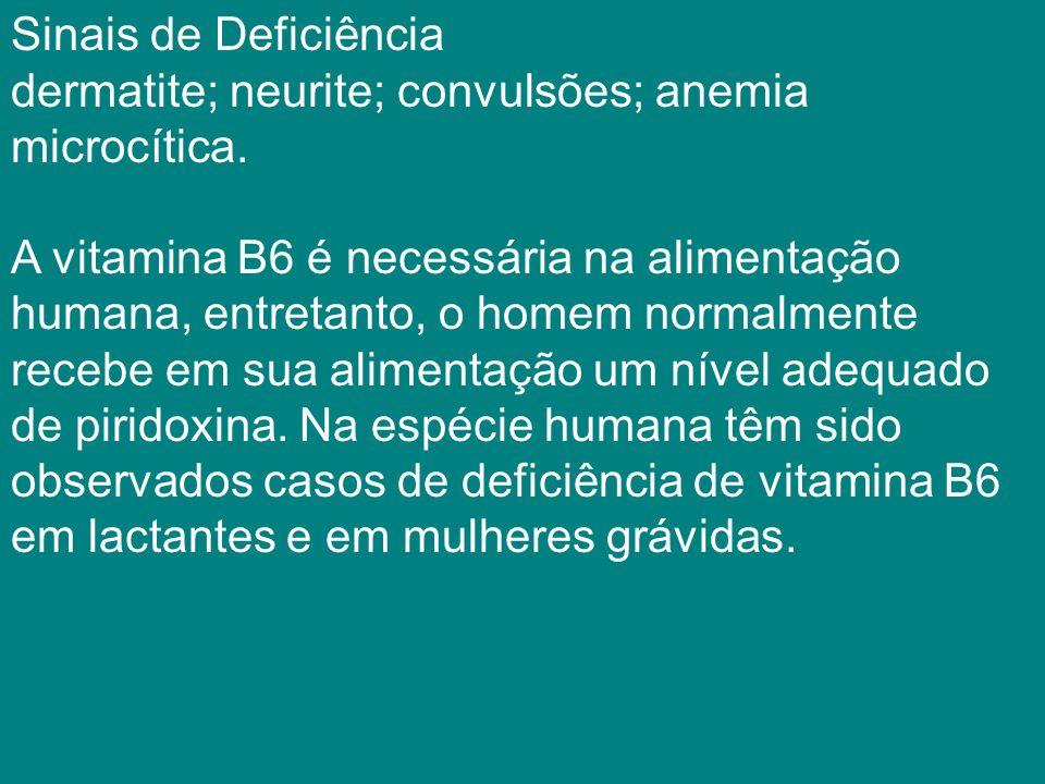 Sinais de Deficiência dermatite; neurite; convulsões; anemia microcítica.