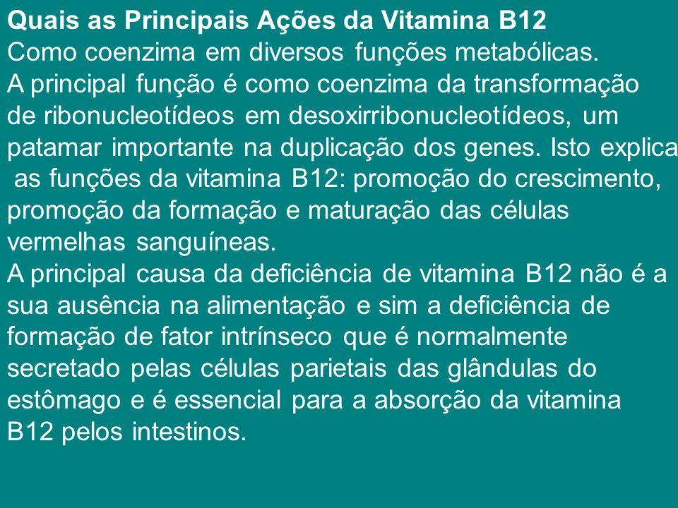 Quais as Principais Ações da Vitamina B12 Como coenzima em diversos funções metabólicas. A principal função é como coenzima da transformação