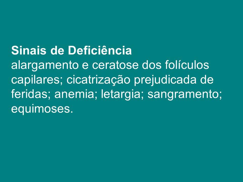 Sinais de Deficiência alargamento e ceratose dos folículos. capilares; cicatrização prejudicada de.