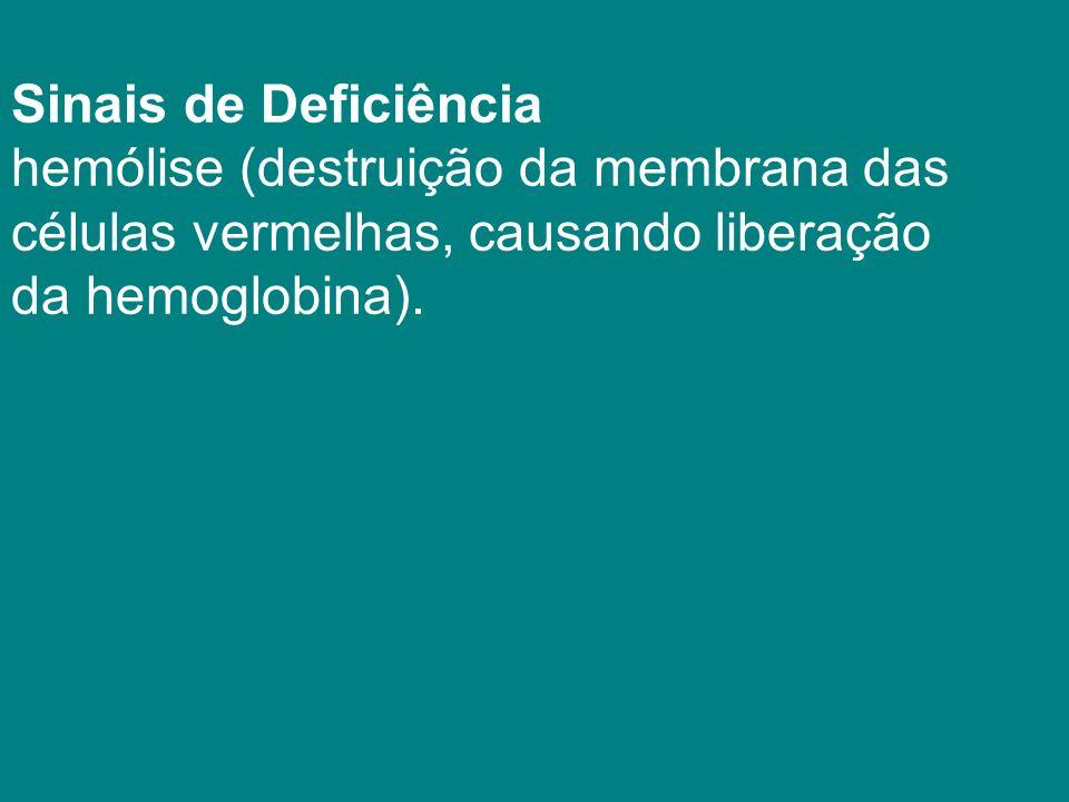 Sinais de Deficiência hemólise (destruição da membrana das. células vermelhas, causando liberação.
