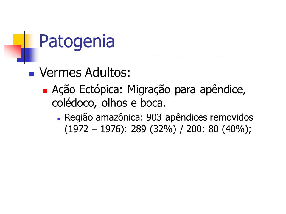 Patogenia Vermes Adultos: