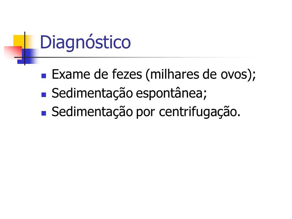 Diagnóstico Exame de fezes (milhares de ovos);