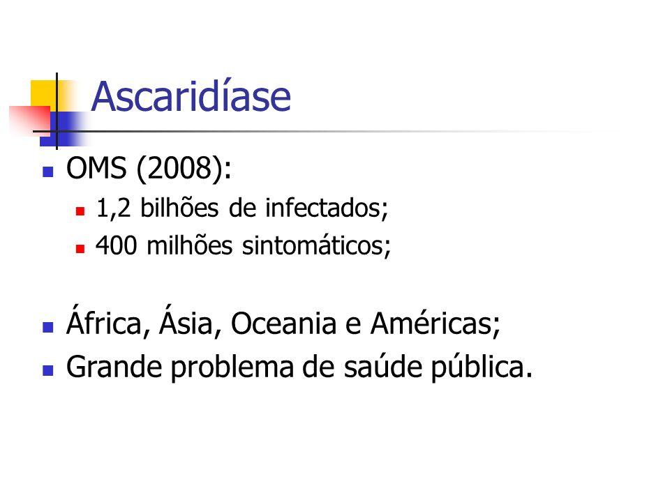 Ascaridíase OMS (2008): África, Ásia, Oceania e Américas;
