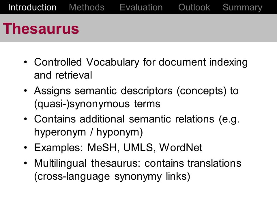 Thesaurus Controlled Vocabulary for document indexing and retrieval