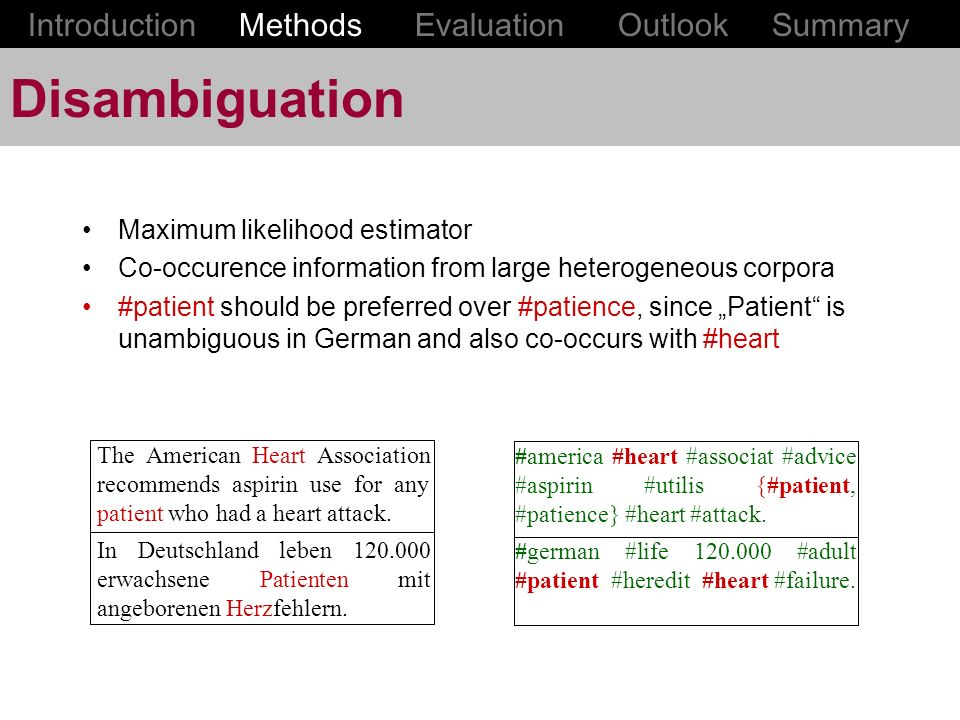 Disambiguation Introduction Methods Evaluation Outlook Summary