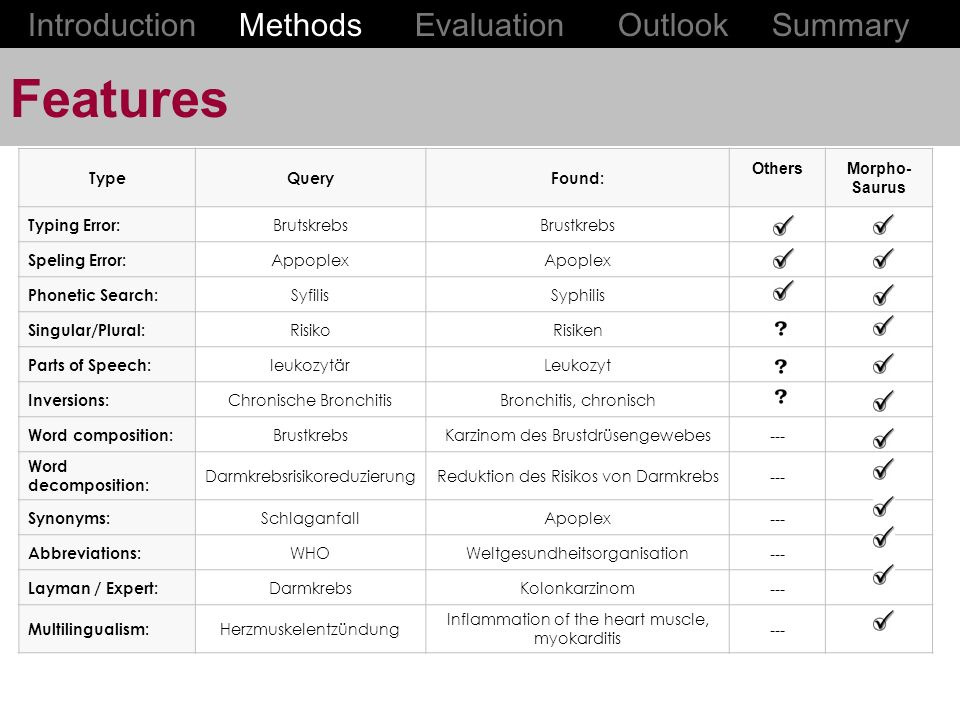 Features Introduction Methods Evaluation Outlook Summary Type Query