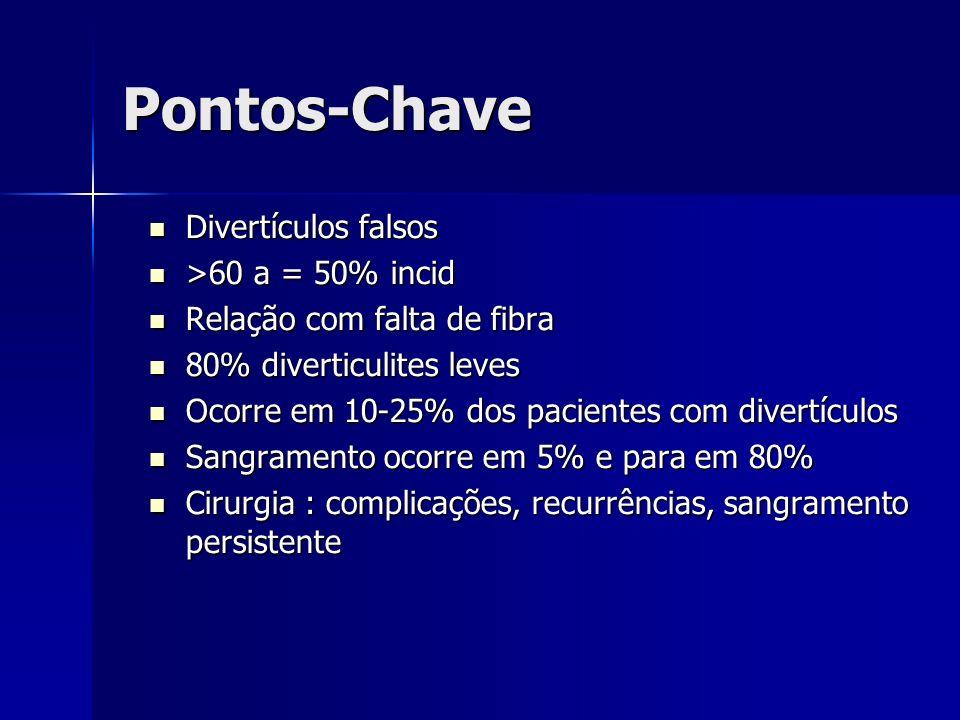 Pontos-Chave Divertículos falsos >60 a = 50% incid