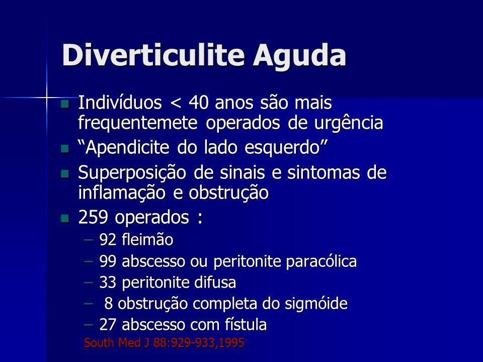 Diverticulite Aguda Indivíduos < 40 anos são mais frequentemete operados de urgência. Apendicite do lado esquerdo