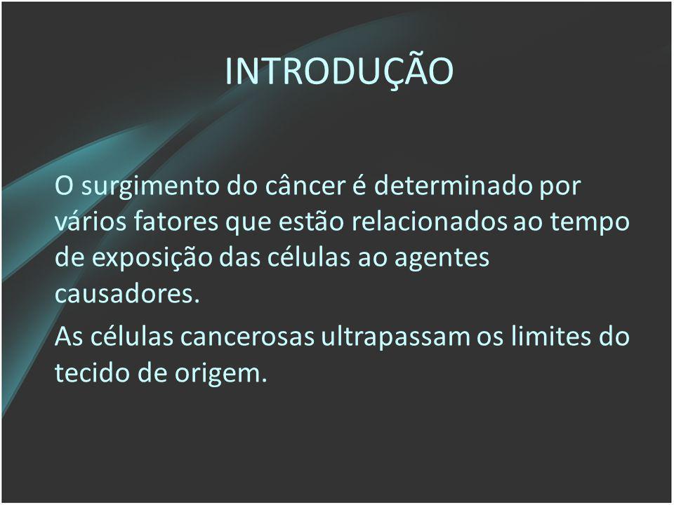 INTRODUÇÃO O surgimento do câncer é determinado por vários fatores que estão relacionados ao tempo de exposição das células ao agentes causadores.