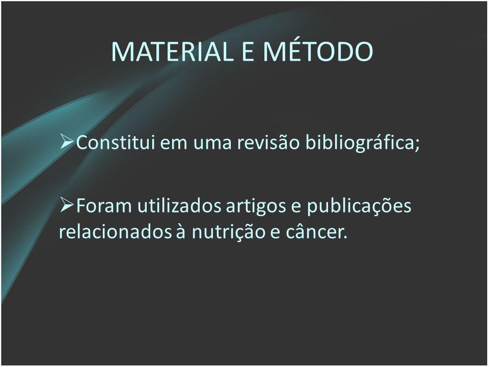 MATERIAL E MÉTODO Constitui em uma revisão bibliográfica;