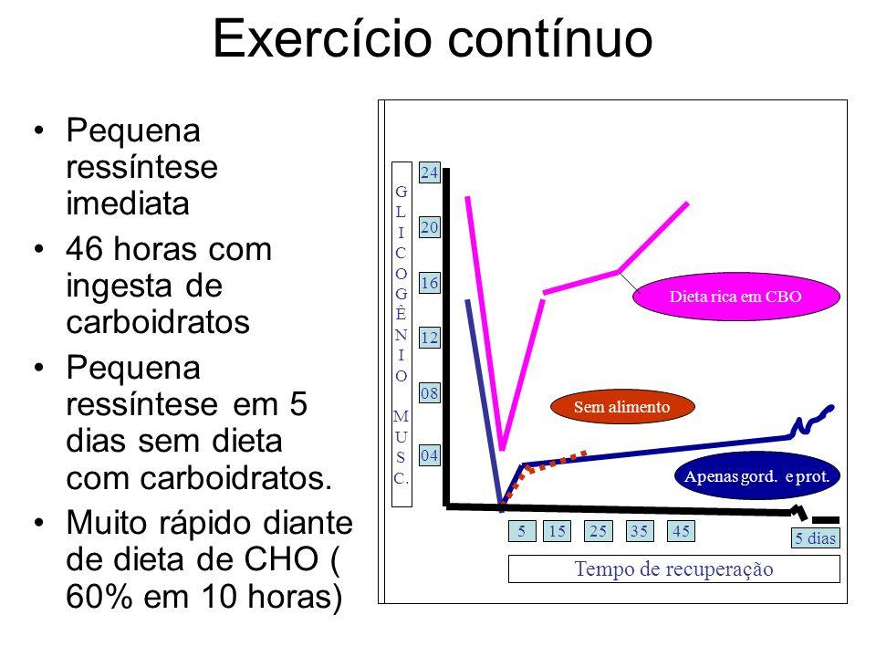 Exercício contínuo Pequena ressíntese imediata