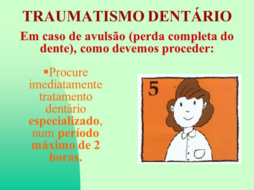 Em caso de avulsão (perda completa do dente), como devemos proceder: