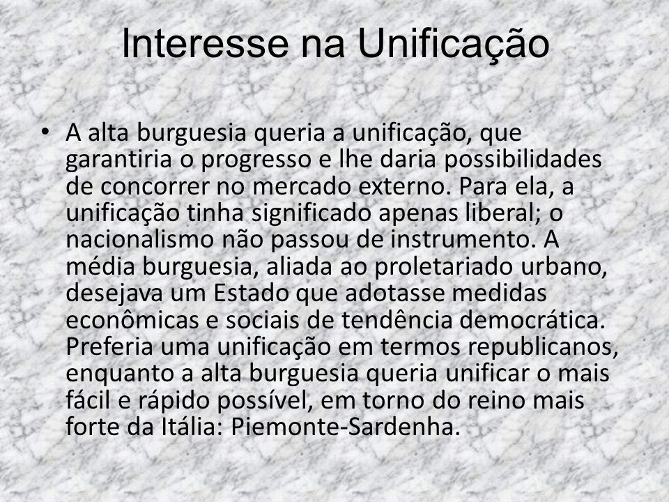 Interesse na Unificação