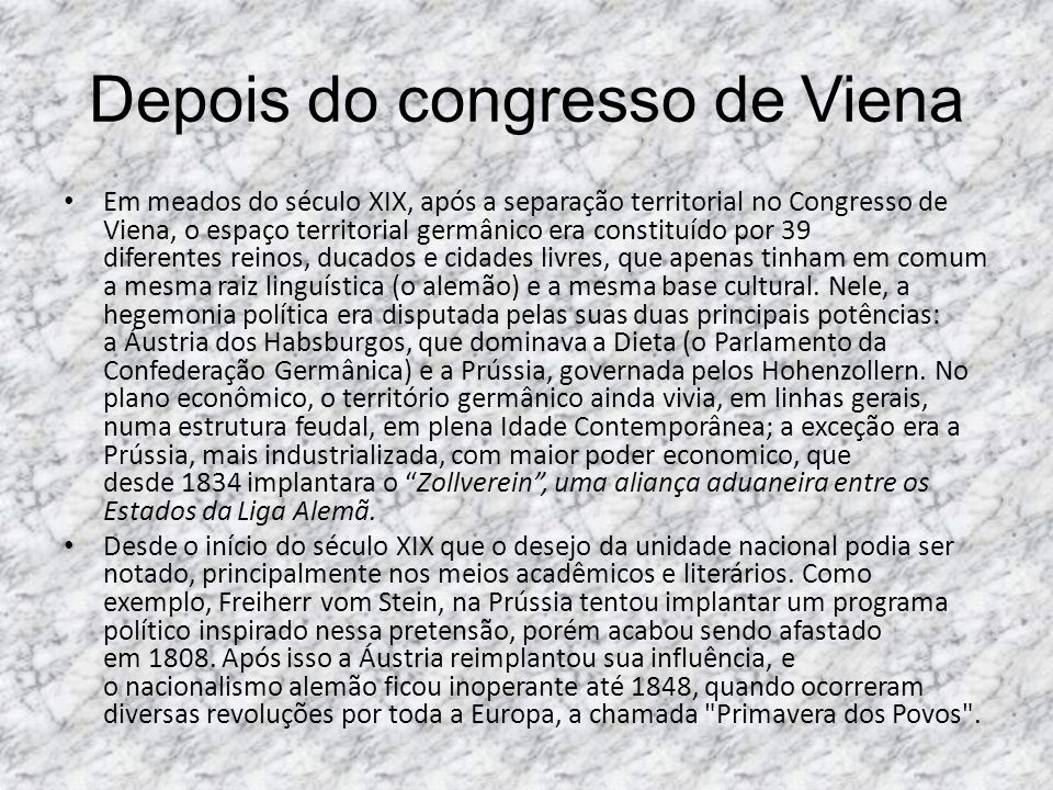 Depois do congresso de Viena