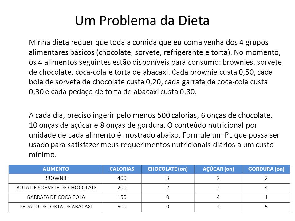 Um Problema da Dieta