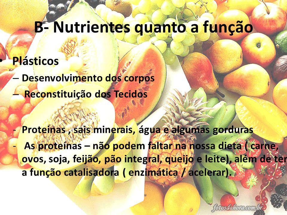 B- Nutrientes quanto a função