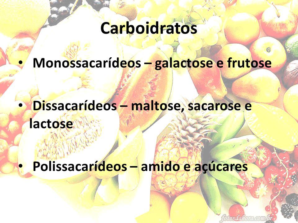Carboidratos Monossacarídeos – galactose e frutose