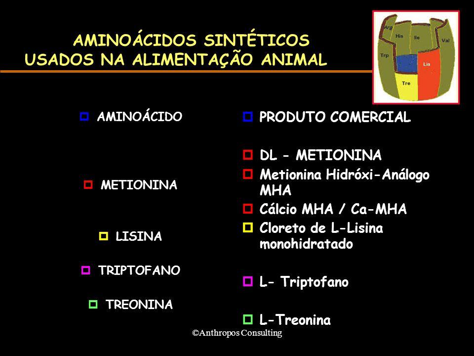 AMINOÁCIDOS SINTÉTICOS USADOS NA ALIMENTAÇÃO ANIMAL