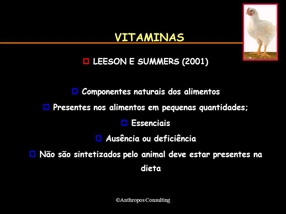 VITAMINAS LEESON E SUMMERS (2001) Componentes naturais dos alimentos