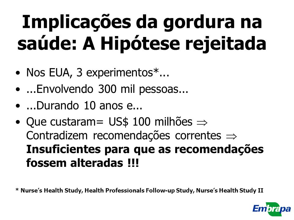 Implicações da gordura na saúde: A Hipótese rejeitada