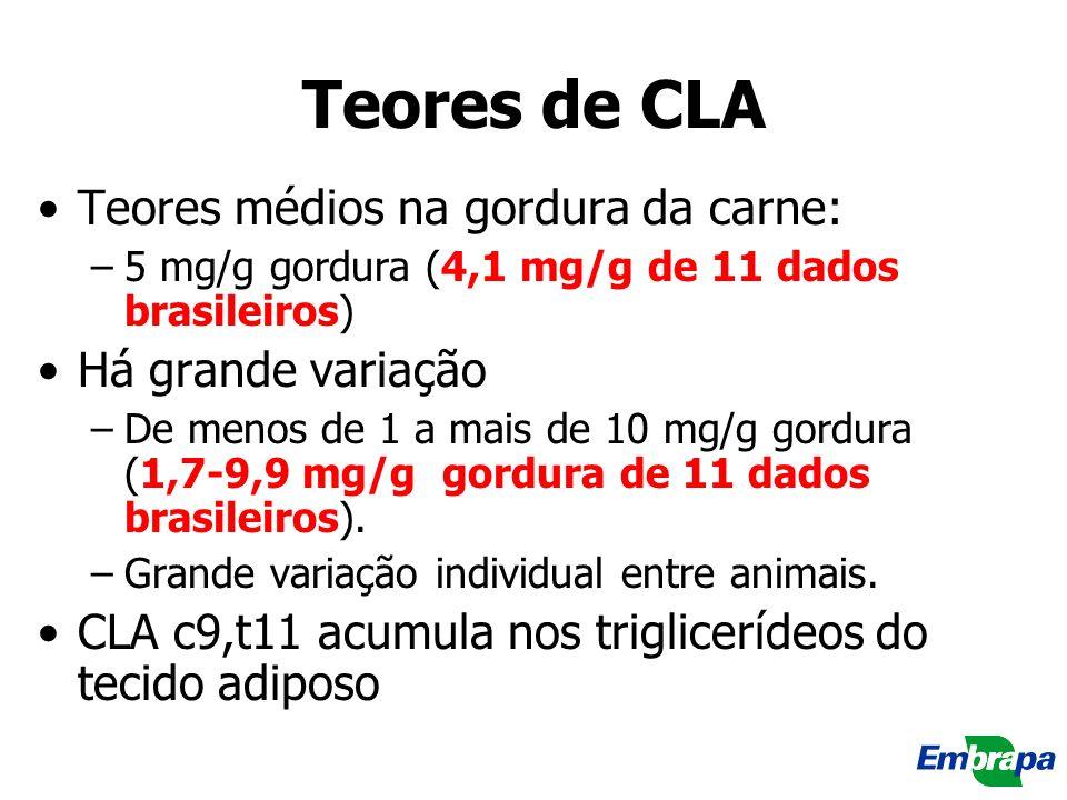 Teores de CLA Teores médios na gordura da carne: Há grande variação