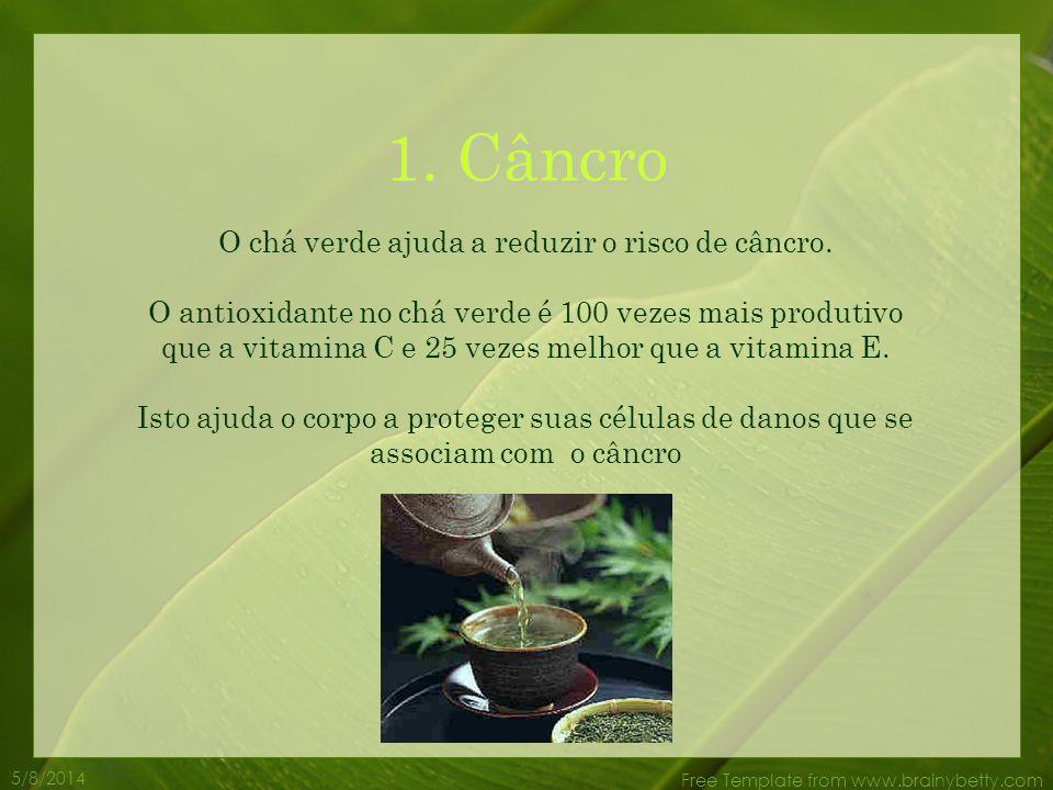 O chá verde ajuda a reduzir o risco de câncro.