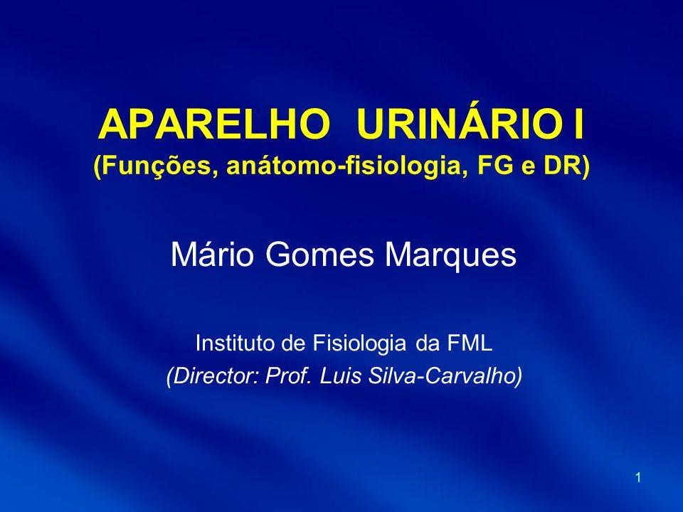 APARELHO URINÁRIO I (Funções, anátomo-fisiologia, FG e DR)