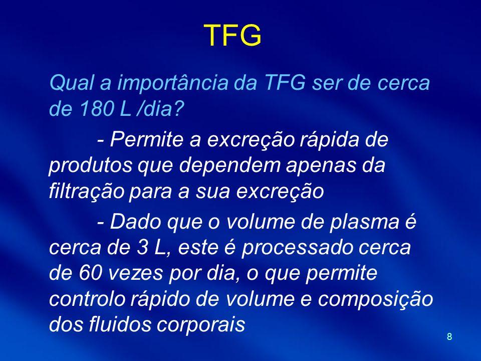 TFG Qual a importância da TFG ser de cerca de 180 L /dia