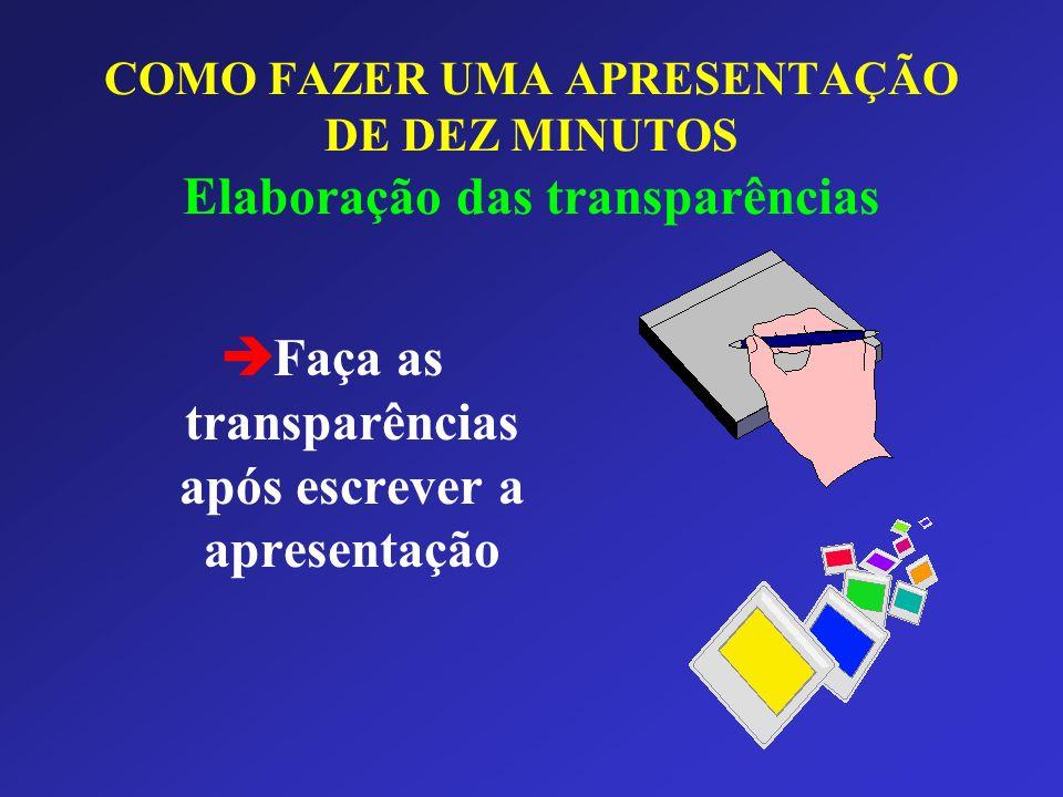 Faça as transparências após escrever a apresentação