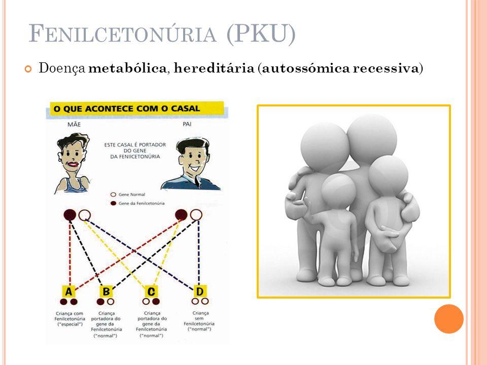 Fenilcetonúria (PKU) Doença metabólica, hereditária (autossómica recessiva)