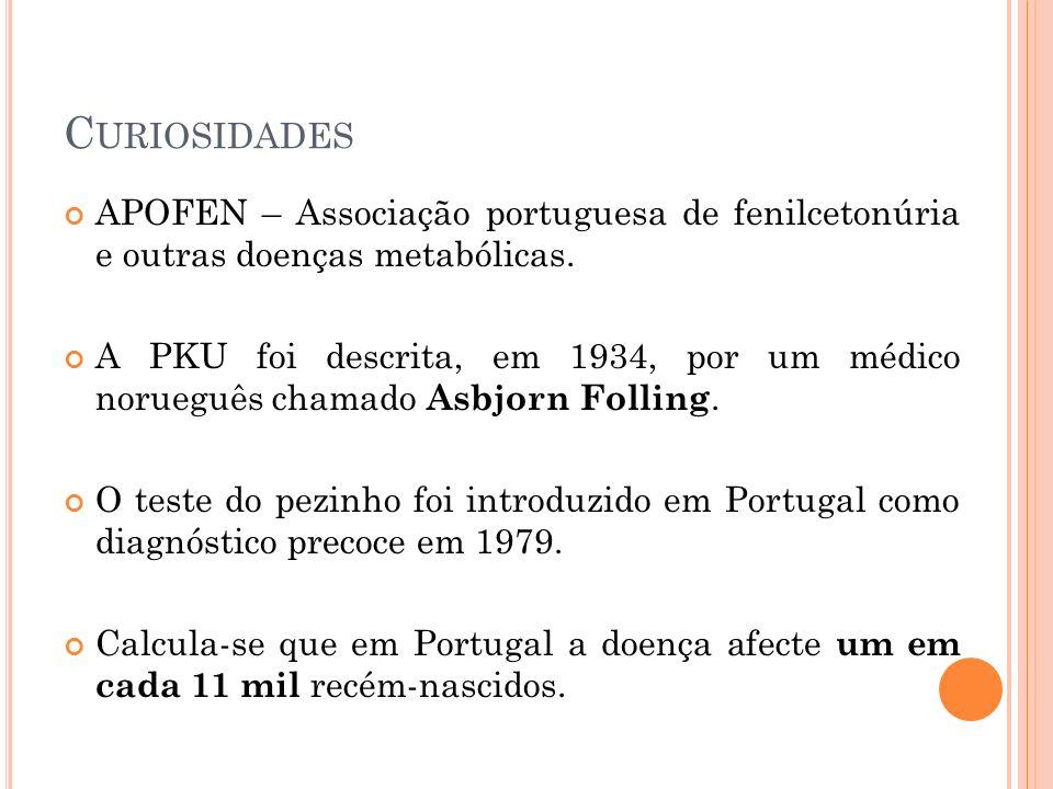 Curiosidades APOFEN – Associação portuguesa de fenilcetonúria e outras doenças metabólicas.
