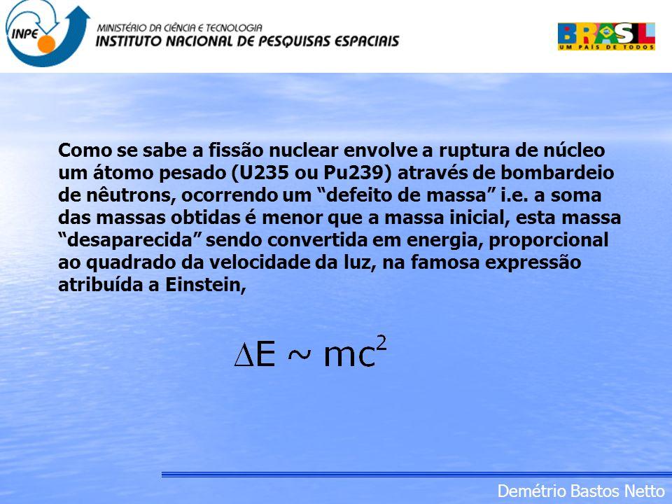 Como se sabe a fissão nuclear envolve a ruptura de núcleo um átomo pesado (U235 ou Pu239) através de bombardeio de nêutrons, ocorrendo um defeito de massa i.e.