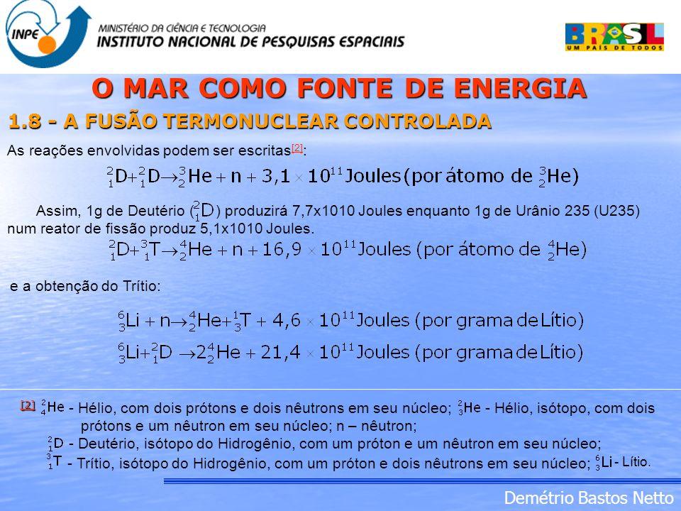 O MAR COMO FONTE DE ENERGIA 1.8 - A FUSÃO TERMONUCLEAR CONTROLADA