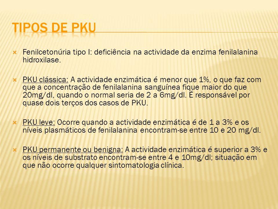 Tipos de PKU Fenilcetonúria tipo I: deficiência na actividade da enzima fenilalanina hidroxilase.