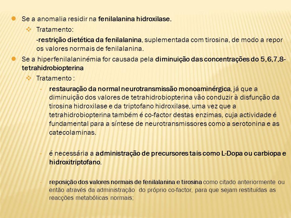Se a anomalia residir na fenilalanina hidroxilase. Tratamento:
