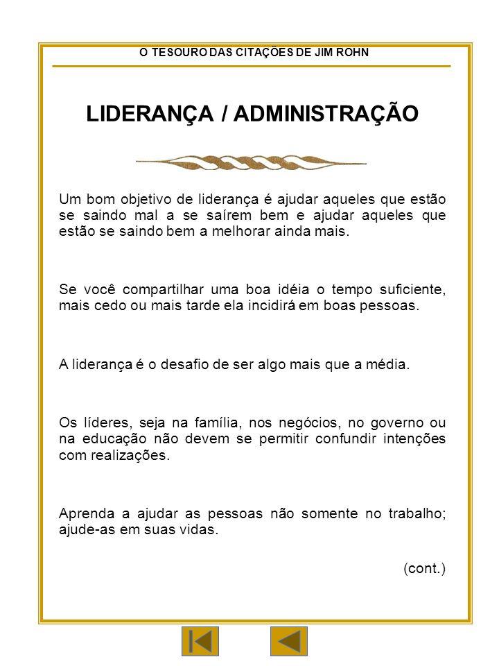 LIDERANÇA / ADMINISTRAÇÃO